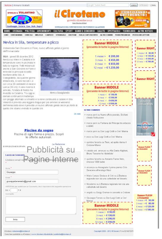 Pubblicita su ilCirotano - pagine interne