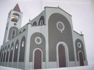 Immagine del progetto di nuova chiesa realizzato dall'ufficio tecnico comunale