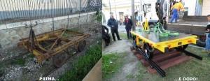 Carrello ferroviario storico esposto antistante la stazione ferroviaria di Soverato1