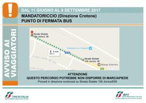 Trenitalia Treni Punto di fermata bus a Mandatoriccio Crotone