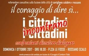 Fusione Corigliano-Rossano, i cittadini incontrano i cittadini per discutere di fusione