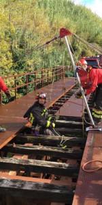 Addestramento dei Vigili del Fuoco su un ponte dismesso delle Ferrovie Calabro Lucane (3)