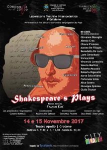 Crotone, il 14 e 15 novembre in scena gli alunni delle scuole cittadine con Shakespeare's Plays