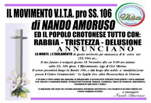 Morte e Isolamento Manifestazione sulla SS106 del Movimento VITA guidato da Nando Amoruso