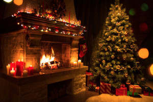 64180067 - christmas tree with gifts near fireplace