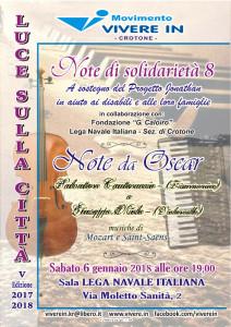 """Crotone, Percorso culturale """"Luce sulla città"""" Note da Oscar Concerto in favore del Progetto Jonathan"""