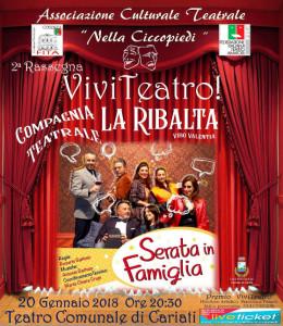 """Rassegna """"Viviteatro"""" Oggi andrà in scena """"Serata in Famiglia"""" nel Teatro comunale di Cariati"""
