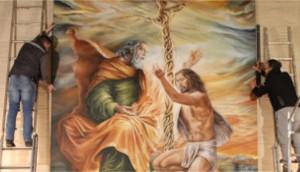 """Vittorio Sgarbi inaugura """"La Santissima Trinità"""", la maestosa tela di Francesca de Bartolo, in arte Mistral"""
