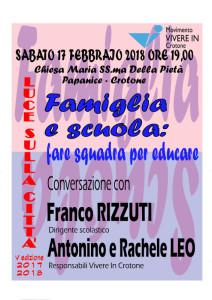 """""""Luce sulla città"""" sabato 17 febbaio a Papanice, Famiglia e scuola, fare squadra per educare"""