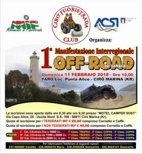 Domenica 11 febbraio, la 1 Manifestazione Interregionale Off-Road su fuoristrada a Cirò Marina